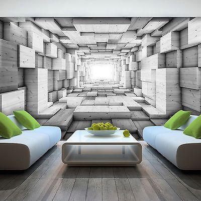 Details zu VLIES Tapete Fototapete Tapeten BILD GRAU HOLZ TUNNEL - tapeten wohnzimmer grau
