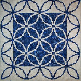 Shoreline Log Cabin quilt, designed by Judy Martin for her book, Judy Martin's Log Cabin Quilt Book. Made in blue and White by Shirley L's