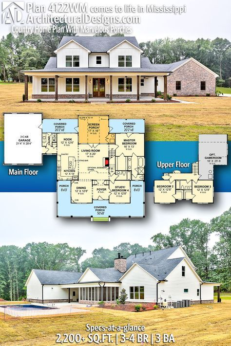 Photo of Plan 4122WM: Country Home Plan With Marvelous Porches