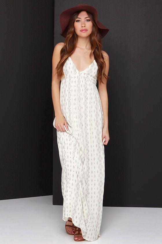 O'Neill Dean Cream Print Maxi Dress | Maxi dresses