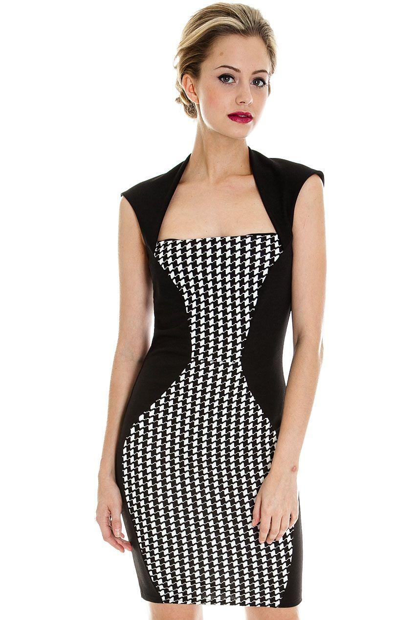 Dogtooth Panel Tailored Dress