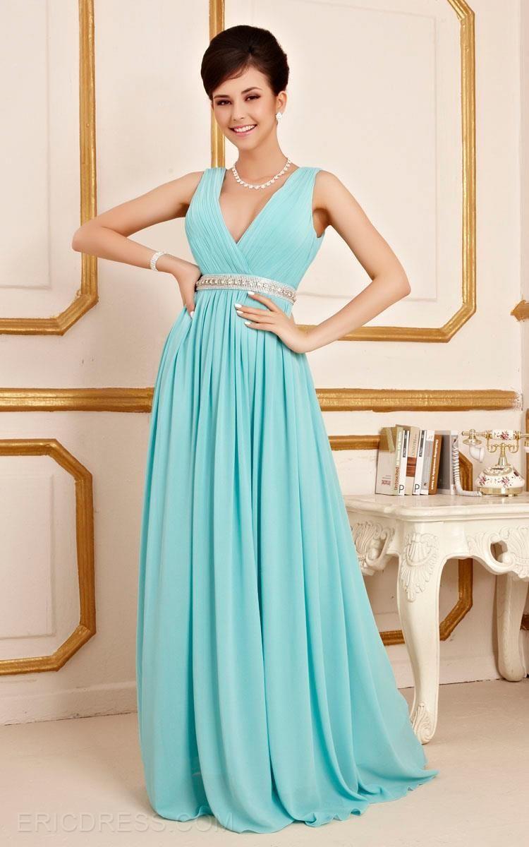 Elegant V-Neck A-Line Beading Floor Length Bridesmaid Dress 2 | yeny ...