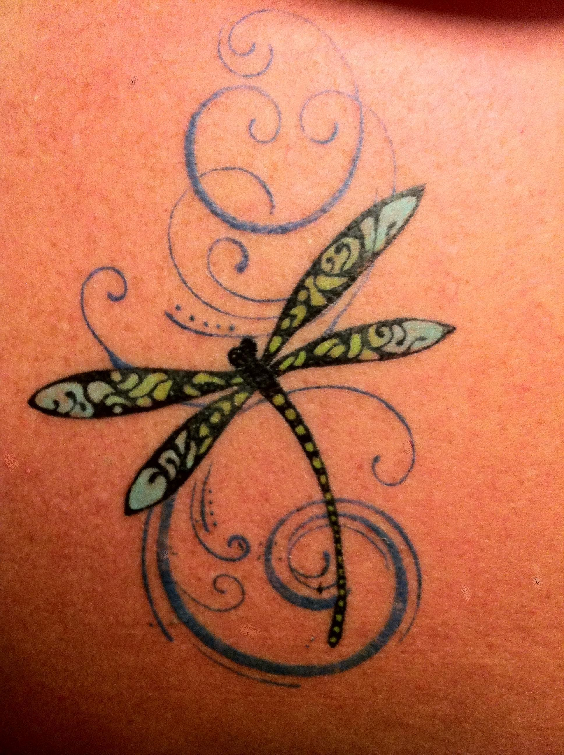 future tattoo for my mom... A dragonfly accepts it's brevity of life, with its gossamer wings feeling the breeze. Full of freedom, it watches our joy and our strife. Its wisdom learned flitting from water to air to trees. With wings that shimmer showing purpose and duty Obedient to all of life's changes in flight. Modestly it shows us its outer be...