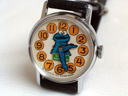 Vintage Cookie Monster Manual-Wind Character Watch by Bradley Time Company,  Swiss Made, Circa 1977.