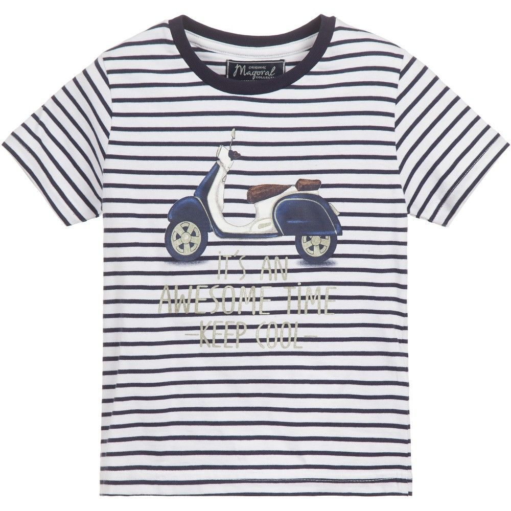 Boys navy blue and white striped short sleeved t-shirt by Mayoral.<span>Made in a soft cotton jersey, with a scooter and slogan print on the front and ribbed navy blue trim around the neckline.<br /></span> <ul> <li>100% cotton (soft jersey feel)</li> <li>Machine wash (30*C)</li> <li>Generous fit</li> </ul>