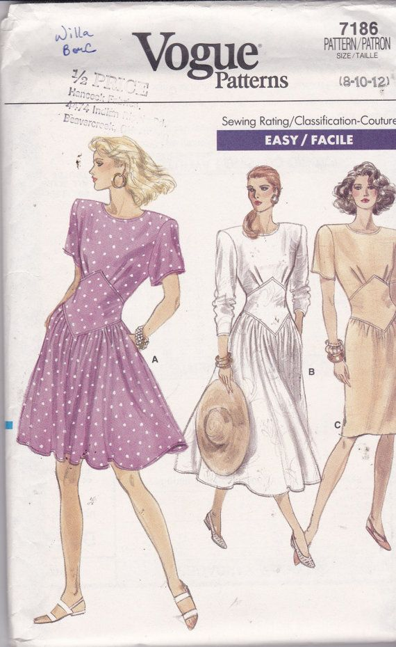 Vogue 7186 Vintage Pattern Semi Fitted Dress in 3 Variations Size 8 ...