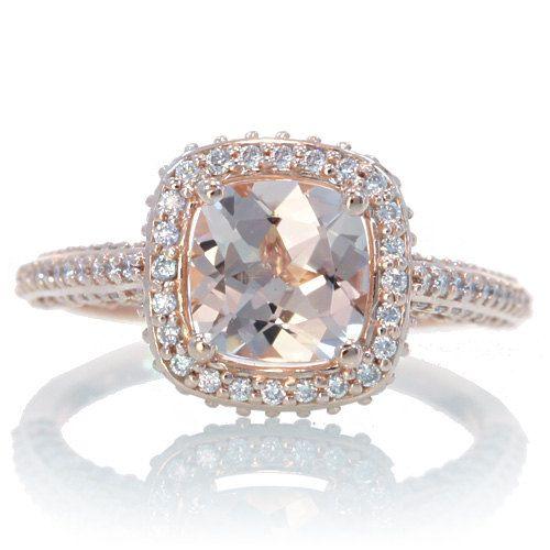 14 Karat Rose Gold Cushion Cut Morganite Diamond Halo Engagement