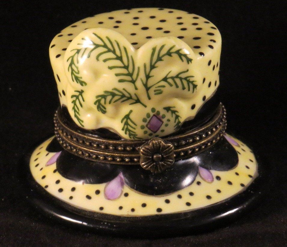 Porcelain HINGED HAT TRINKET BOX Vanity Fancy Polka Dot Yellow Purple Feather