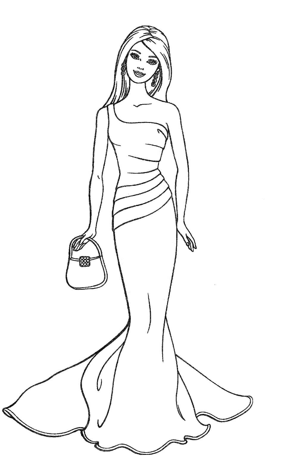 Barbie colouring in online free - Barbie Fashion Coloring Page 01