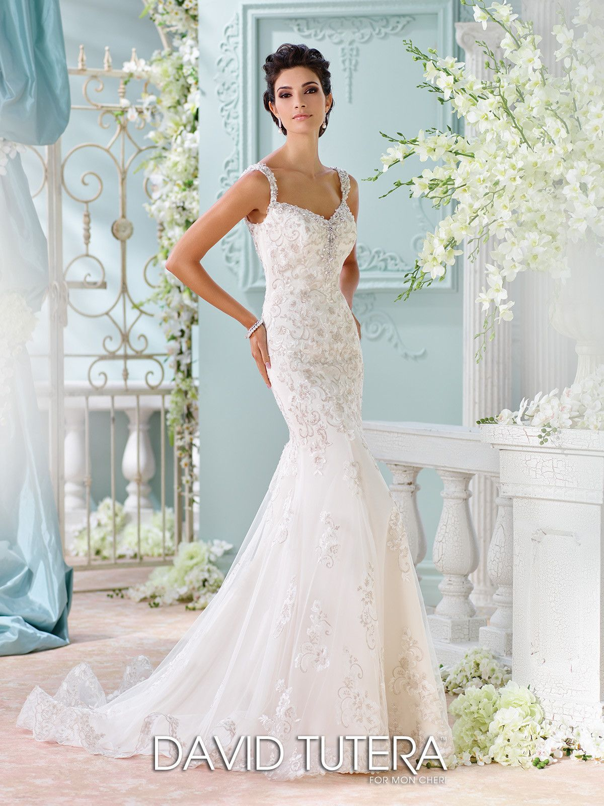 Fit and Flare Hand-Beaded Lace Wedding Dress- 116220 Colesha ...
