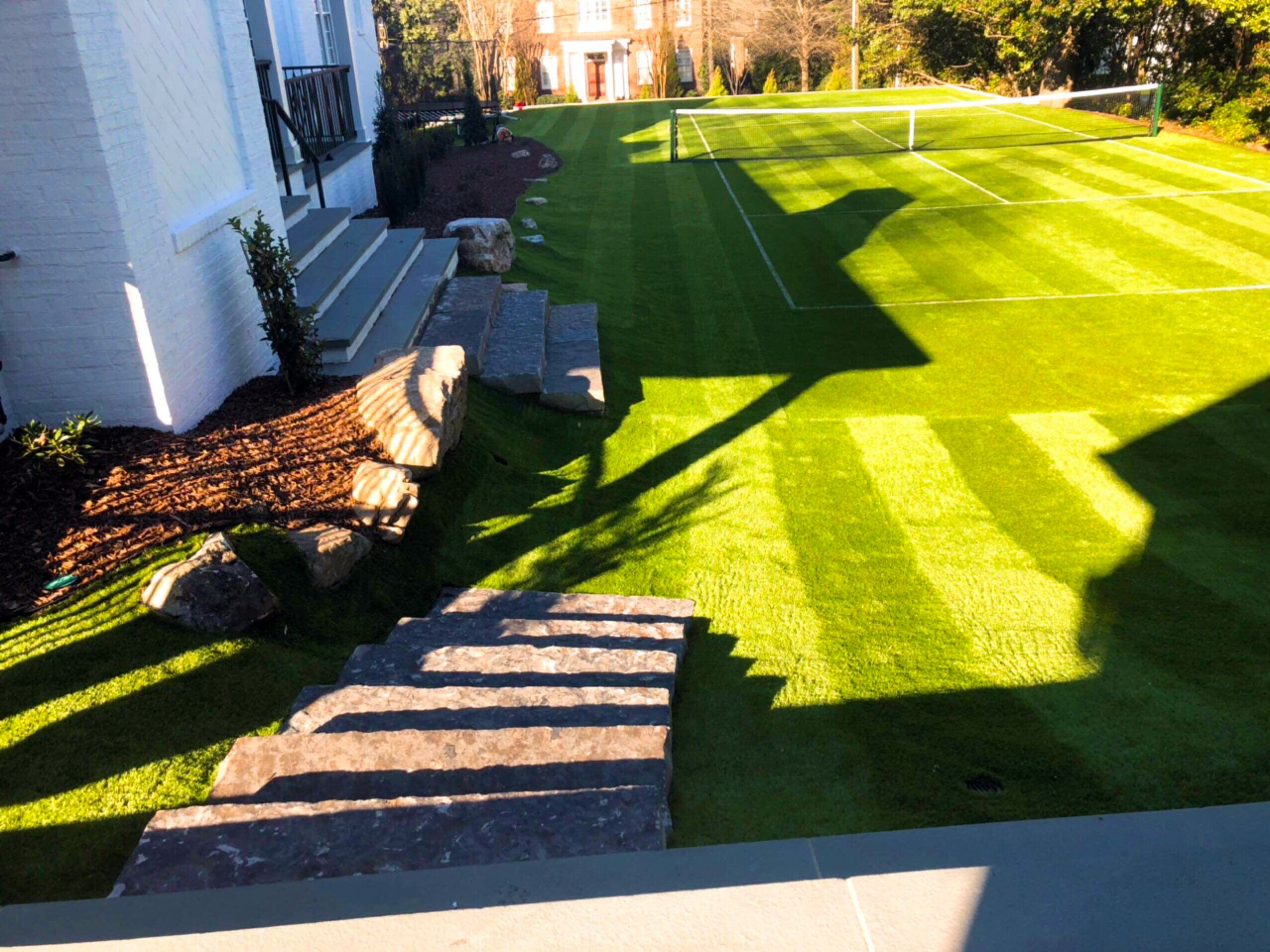 Lawn Stripes Add A Professional Look To The Tennis Court And The Rest Of A Lawn Visit Us On The Web At Http Www G Tennis Court Synthetic Grass Lawn Striping