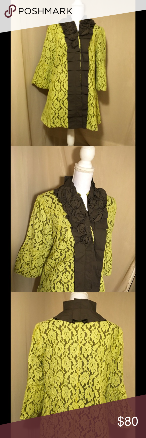 """Stunning Green/Brown Ruffles Coat By Ryu Elegant Ryu coat, Overlay Lace fully lined, with ample Ruffles and dramatic Sleeves, sides pockets Ruffled neckline, three button front, large measure: 20"""" armpit to armpit, 33"""" length Medium measure: 18"""" armpit to armpit, 32"""" length, Small measure: 16"""" armpit to armpit, self 70% Cotton, 30% polyester, lining 100% cotton. Ryu Jackets & Coats"""