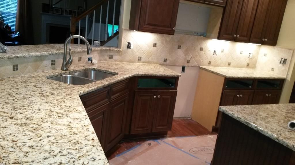 Giallo Napoli Granite With Light Travertine Tile Backsplash 4x4 Diagonal Before And After