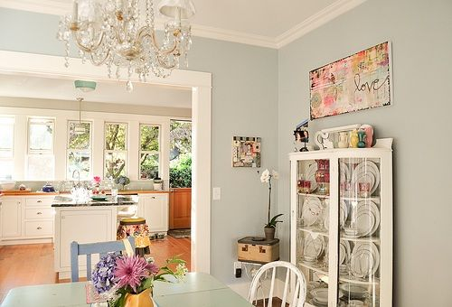 this home has the most amazing color palette. benjamin moore historical colors. Love this color for a kitchen