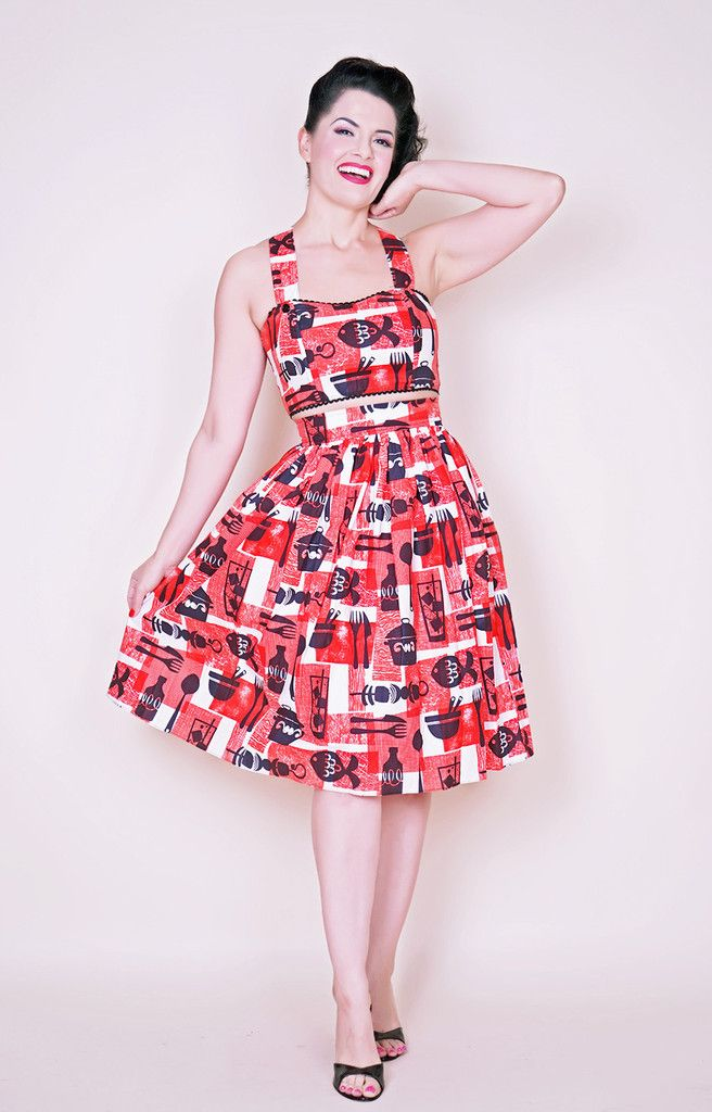 Trixie Skirt in Mid Century BBQ print - Bernie Dexter Pin Up Dresses ...