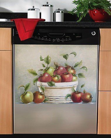 Red Apple Magnetic Dishwasher Cover Magnet Kitchen Decor Apple