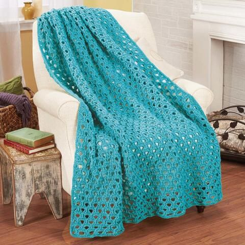 Herrschners® Rosemary Throw Crochet Afghan Kit, Your Choice Color!