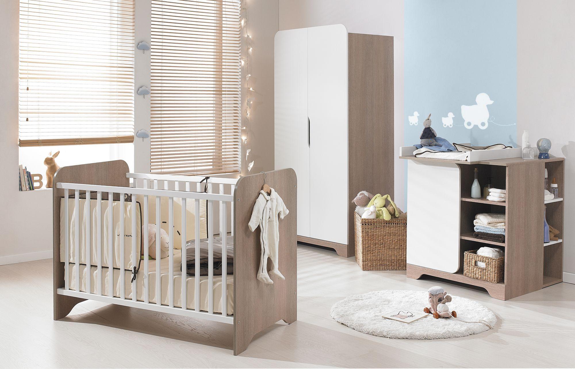 Ensemble de meubles pour chambre bébé Blanc-Noisette - Metis - Les ...