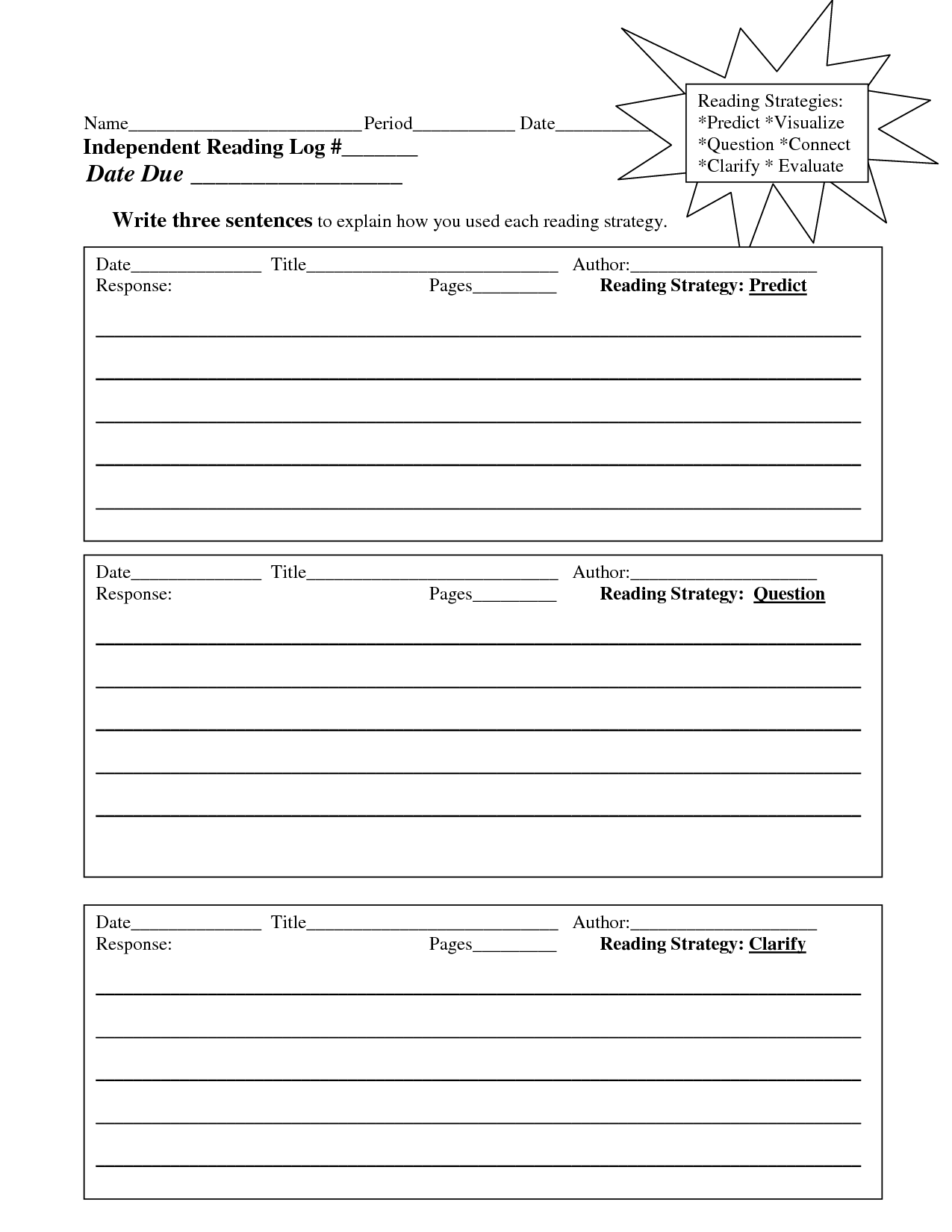 Daily Reading Log Template | Education | Pinterest | Reading logs ...