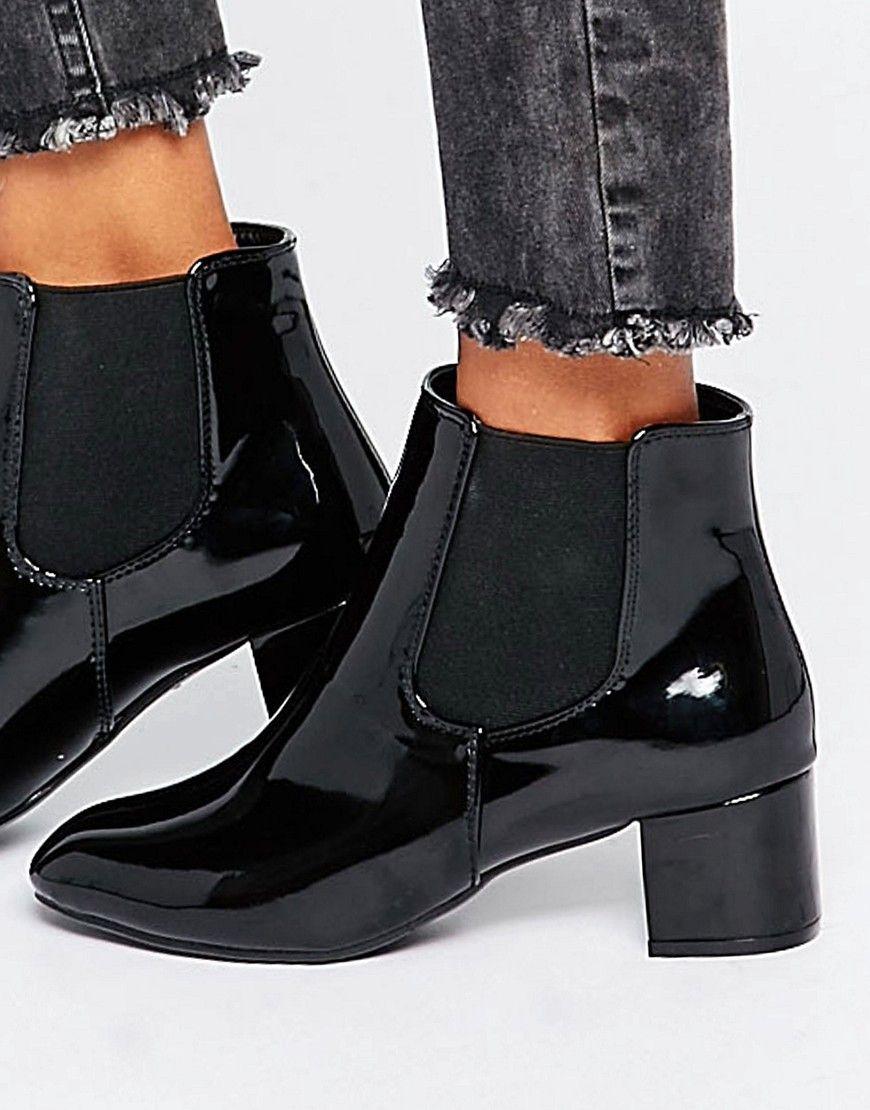 Daisy Street Black Patent Chelsea Boots