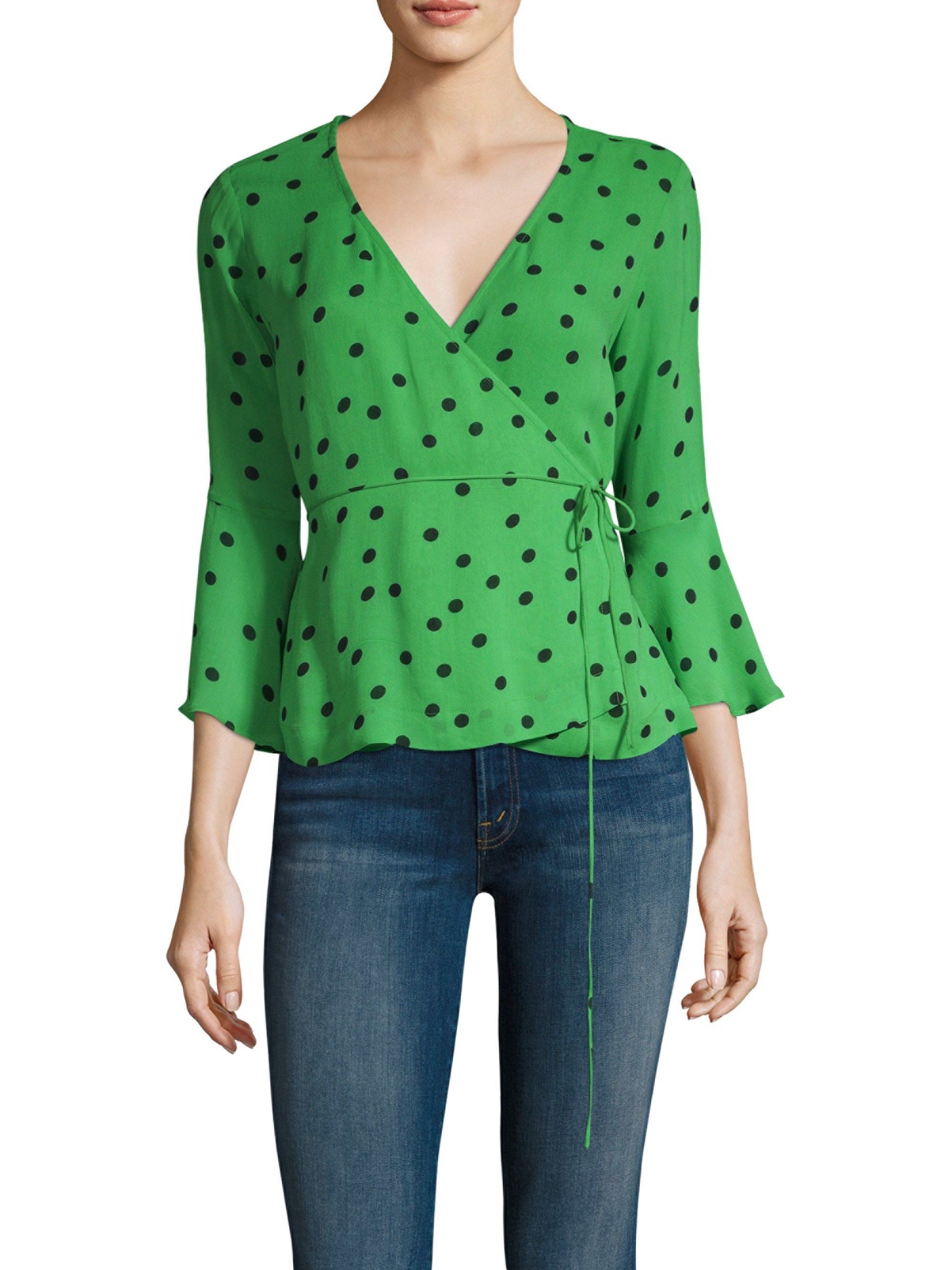 446342f37538a Ganni Polka Dot Wrap Blouse - Classic Green 42 (10) in 2019 ...