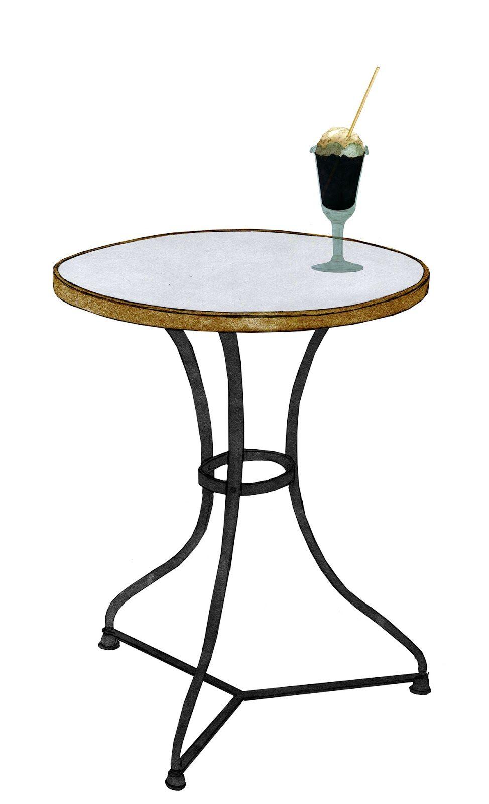 mesita de bar marmol y patas de hierro copa de helado