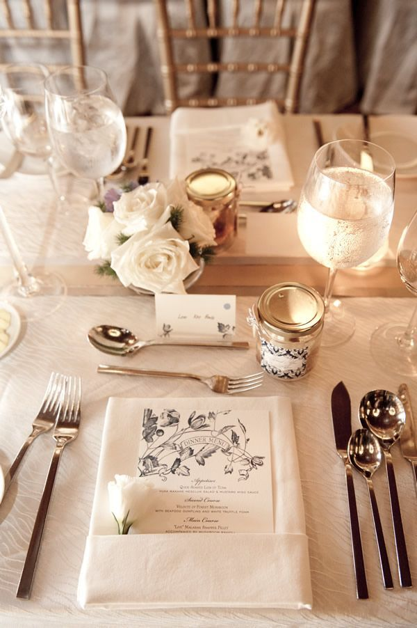 Gorgeous Wedding Table place settings include dinner menus and napkins tied with soft pink ribbons. Description from pinterest.com. & Gorgeous Wedding Table place settings include dinner menus and ...
