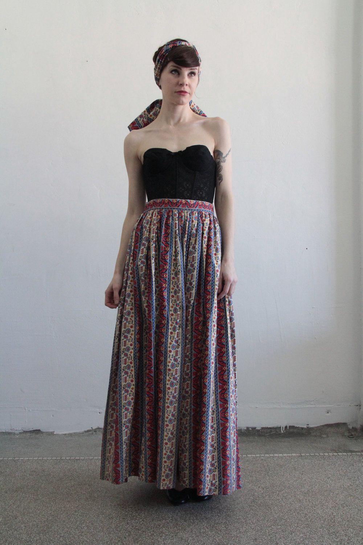 RESERVED Vintage Skirt and Scarf . Folk Print . 1960s Boho Maxi . Matching Sash. $75.00, via Etsy.