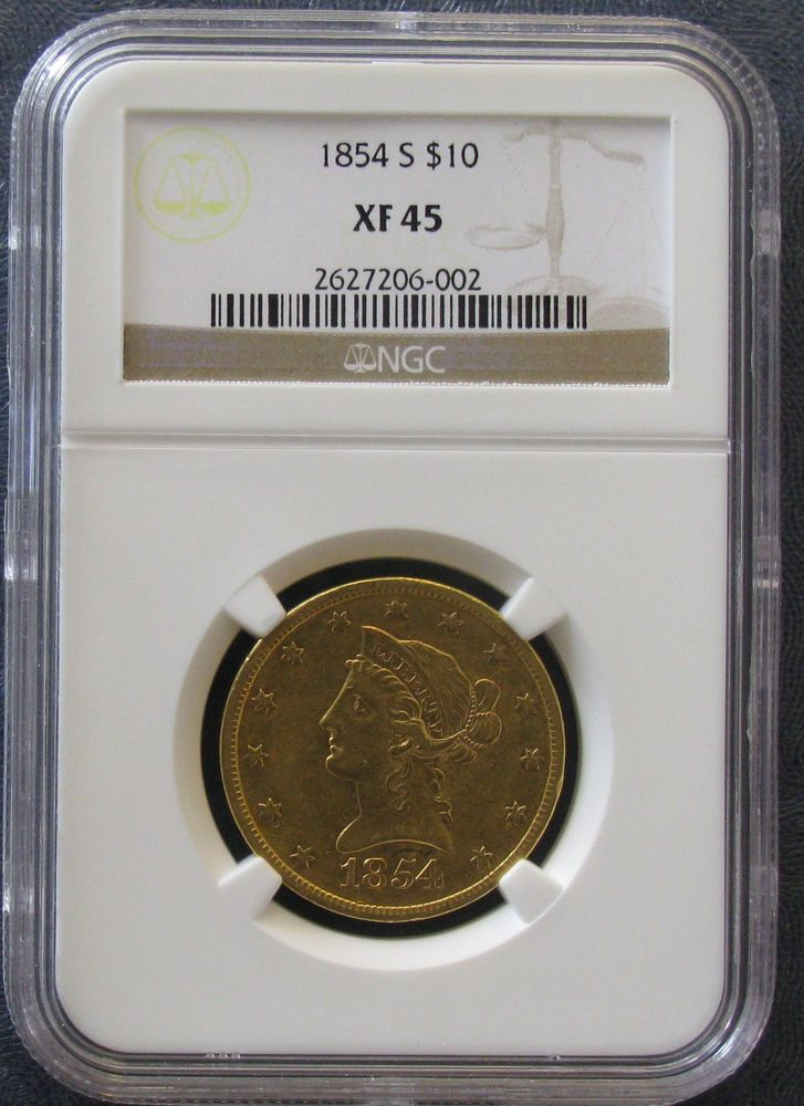 1854 S U S Gold Ngc Xf 45 Liberty Head 10 Eagle Gold Coin Eagle Coin Gold Coins 10 Things