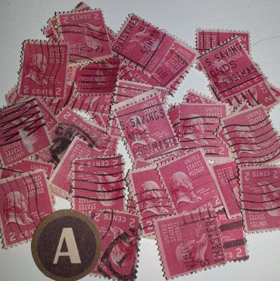 A Vintage Paper Supplies 3 Cent USA Postage Stamp Red John Adams Image Used Cancelled Lot Of 50