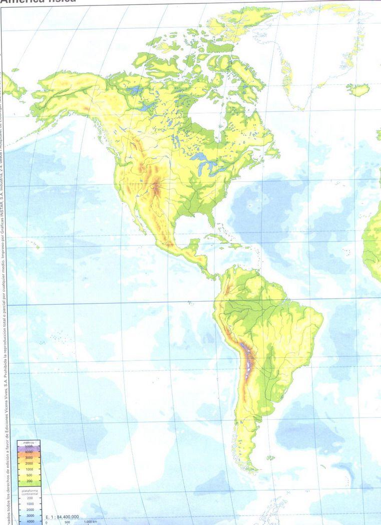 Mapa Mudo De America Fisico.America Fisico 1 In Mapa Sin Nombres World Maps For Mapa