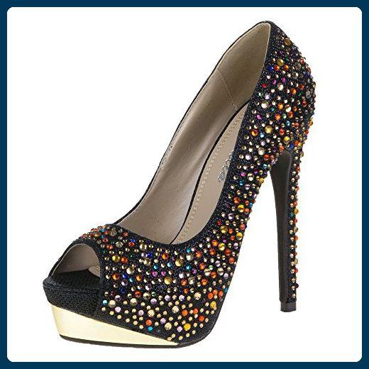 Damen Schuhe, 28111, PUMPS, STRASS NIETEN DEKO PLATEAU PEEP TOE, Synthetik , 4a51c789e0