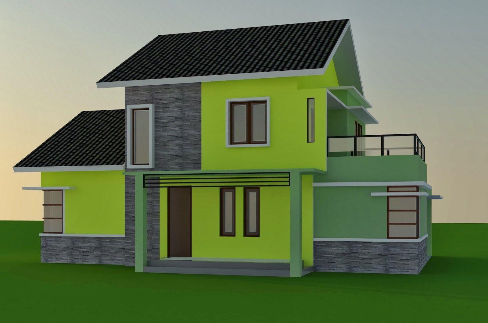 Cat Rumah Warna Hijau Kombinasi Putih