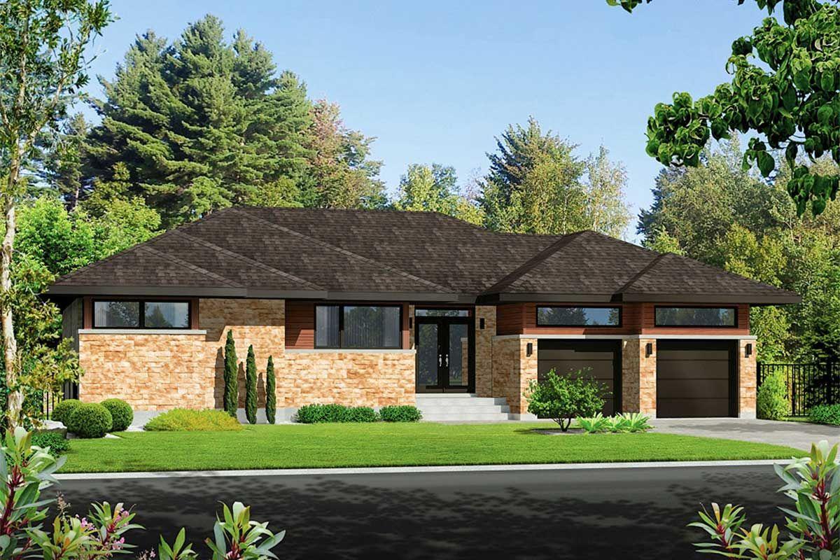 Plan 80934PM Modern 2Bedroom Home Plan with 2Car Garage