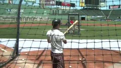Jeffrey Donovan of Burn Notice hitting some balls at Fenway Park in Boston MA 4th July 2010
