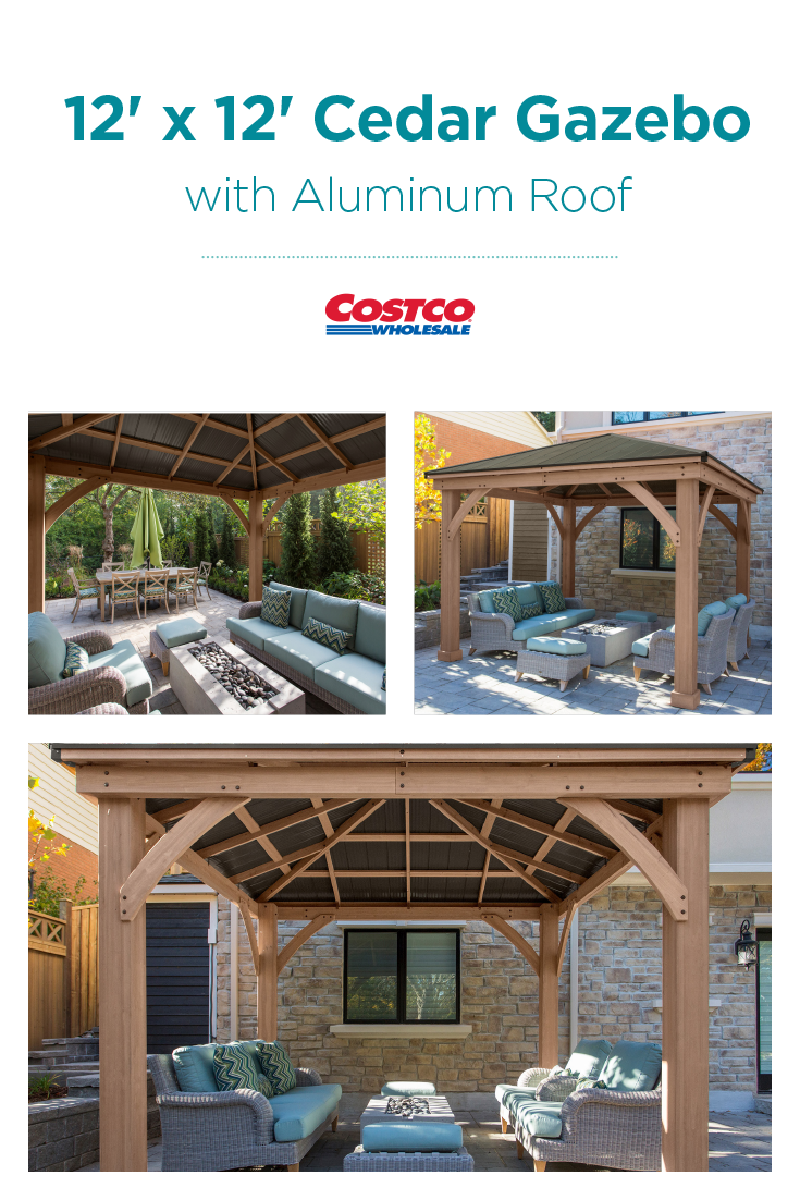 12 X 12 Cedar Gazebo With Aluminum Roof Pergola Outdoor Living Costco Pergola Backyard Gazebo