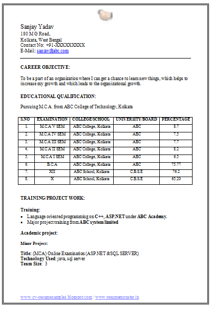 fresher resume format for mca