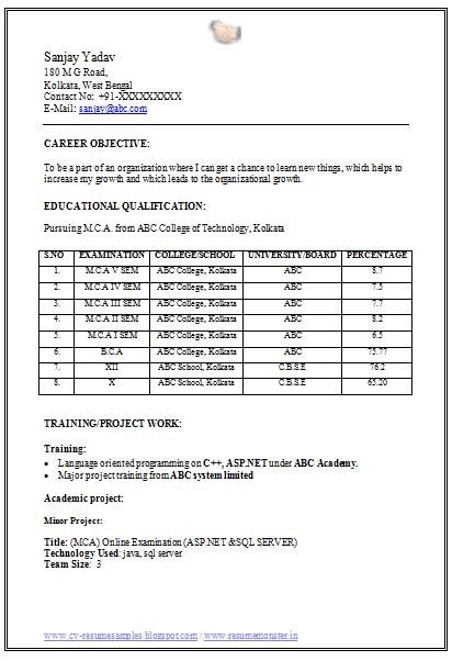 best resume samples for mca freshers