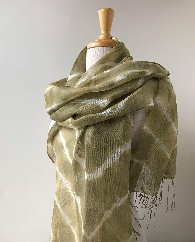 Elegant Shibori Scarf With Fringe 100 Silk Natural Dyes Chartreuse Green And White Women Fashion Long Scarf Textile Art Tie Dye Shibori Scarf Pure Silk Scarf Fashion