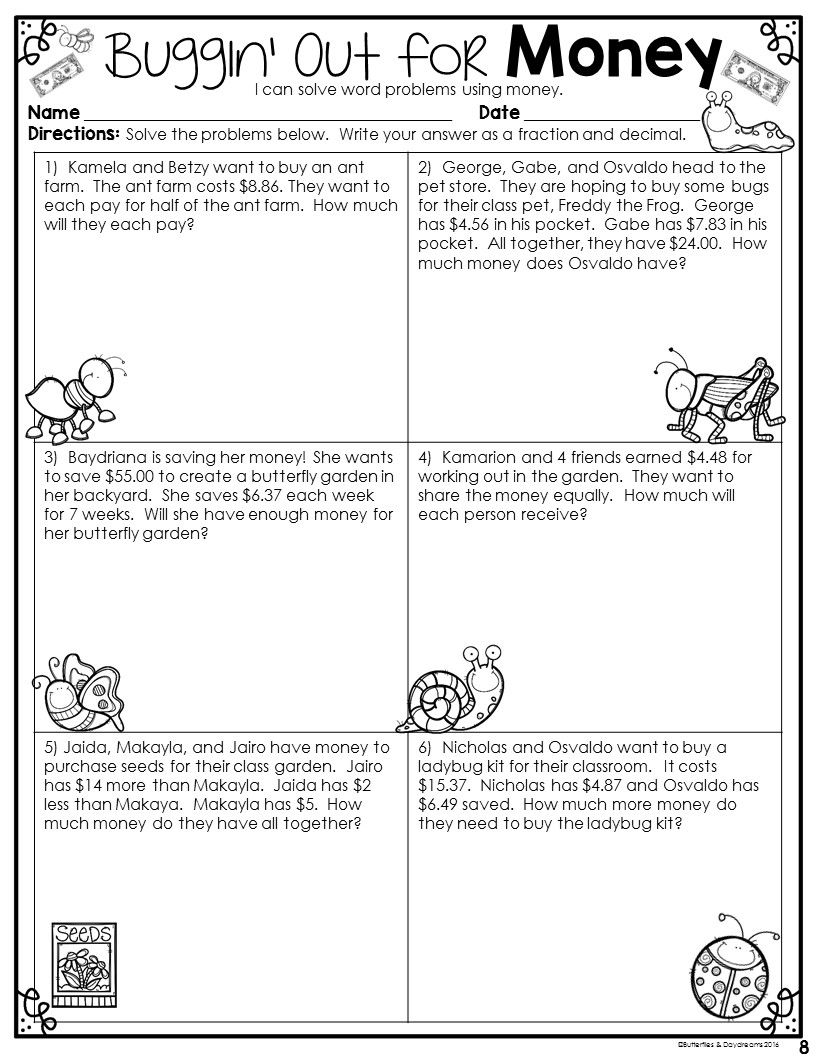 Dividing money worksheets 5th grade