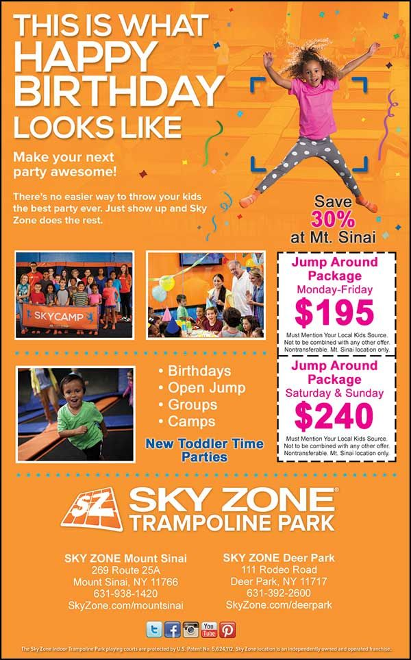 Sky Zone in Deer Park or Mount Sinai where your child can