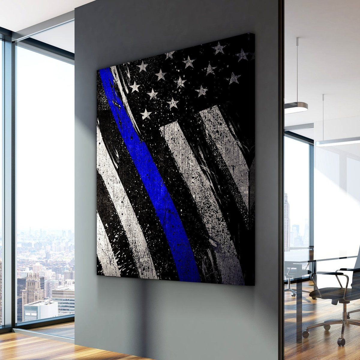 Thin Blue Line Represent Canvas Set Thin Blue Line Wallpaper Canvas Painting Diy Canvas Painting Quotes
