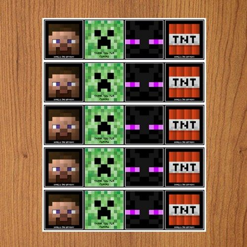 Printable Minecraft Creeper - Cupcake Toppers - Tags | Mary_Party_Supply - Paper/Books on ArtFire