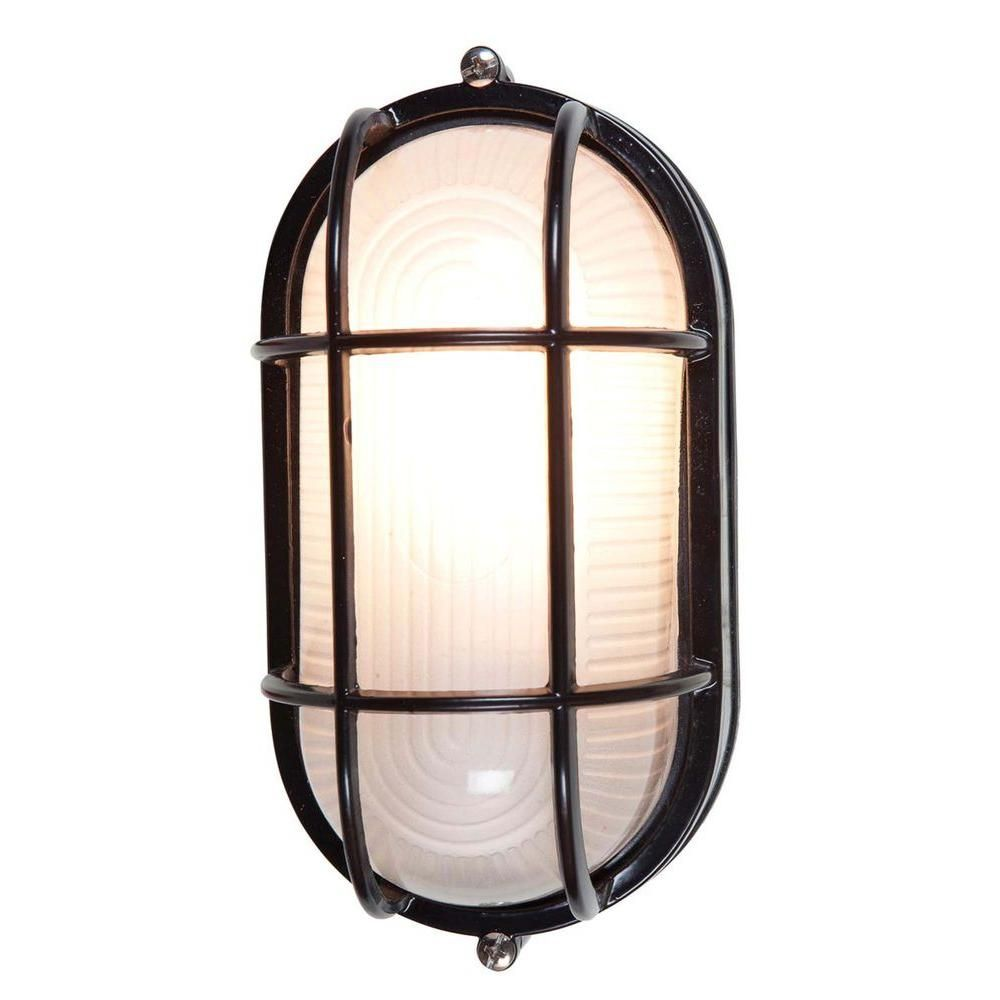 Illumine 1 Light Outdoor Black Wall Sconce With Frosted Glass Shade CLI CE
