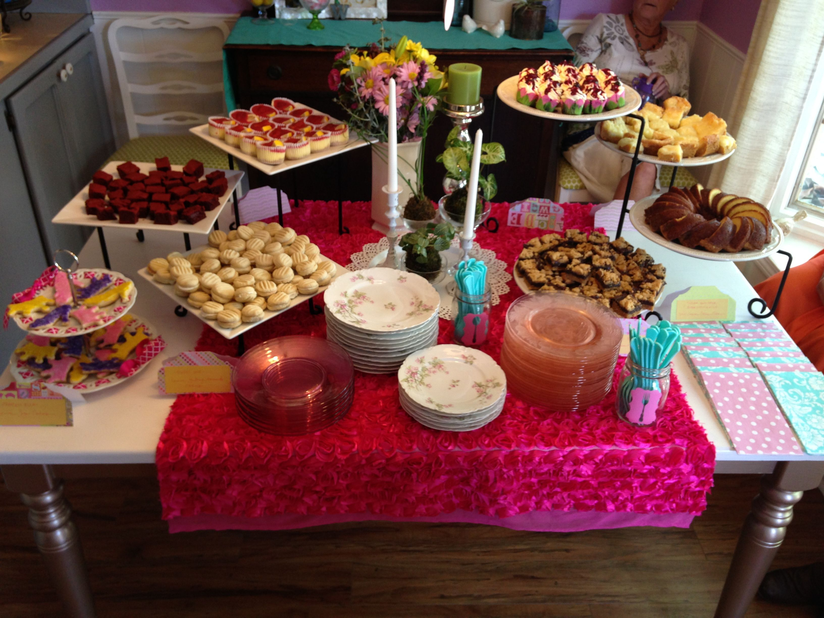 Girl baby shower decorations dessert shower food table for Baby shower food decoration ideas