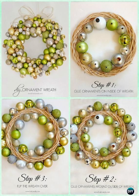 DIY Christmas Ornament Wreath Instructions- Christmas Wreath Craft