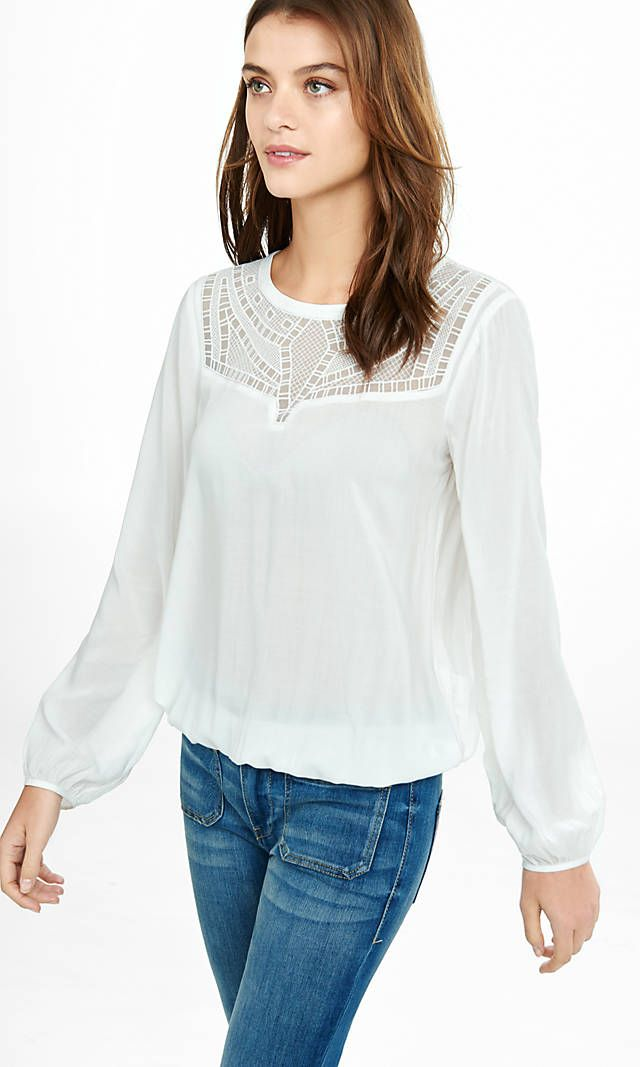 Geo Lace Bib Banded Bottom Blouse From Express New Clothes