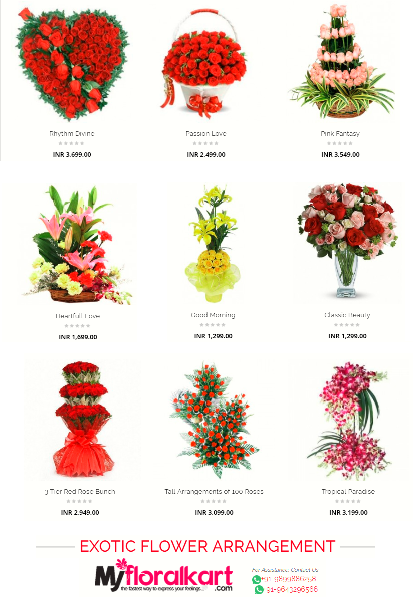 Online Send Exotic Flowers Arrangement By My Floral Cart India Florist With Same Day Delivery In