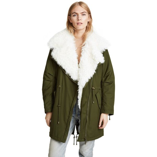 Ulla Johnson Harley Parka ($980) ❤ liked on Polyvore featuring outerwear, coats, army, military parka, white coat, white fur coat, military parka coat and white fur parka