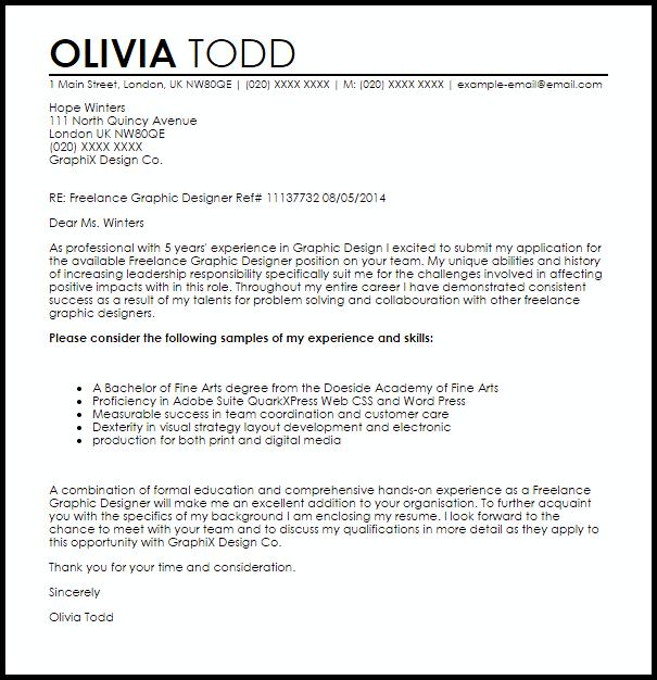 Graphic Design Cover Letter Sample Graphic Design Resume Freelance Graphic Design Job Cover Letter